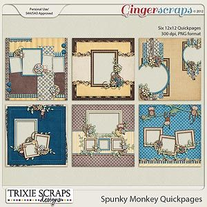Spunky Monkey Quickpages by Trixie Scraps Designs