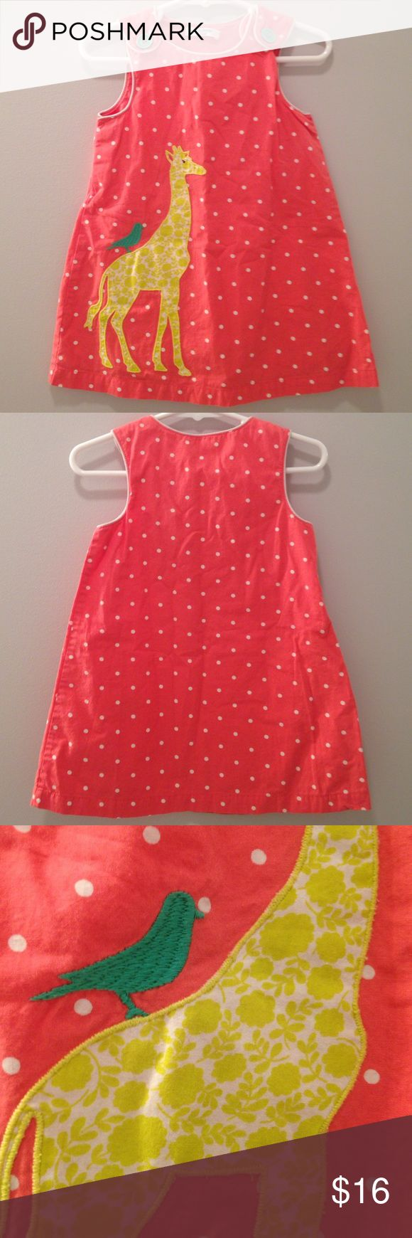 Baby Boden Dress Coral White Dots 12-18M Sweet summer dress by Baby Boden! The coral cotton dress (12-18M) is accessorized with white dots, a giraffe and bird. There are two mint green buttons at the top of the dress, along with two smaller mint green buttons that are hidden on the side. The dress has no stains or tears and just minimal signs of wear. Mini Boden Dresses Casual
