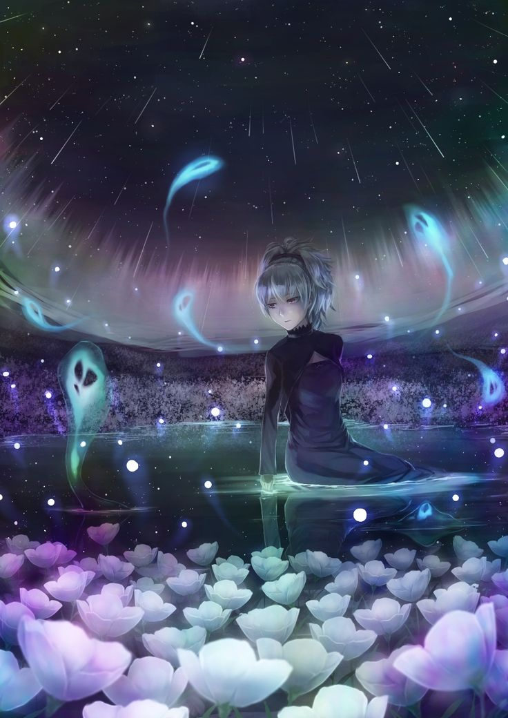 darker_than_black dress expressionless flower highres lif_(lif-ppp) long_sleeves night purple_eyes reflection shooting_star silver_hair sitting sky solo star violet_eyes yin