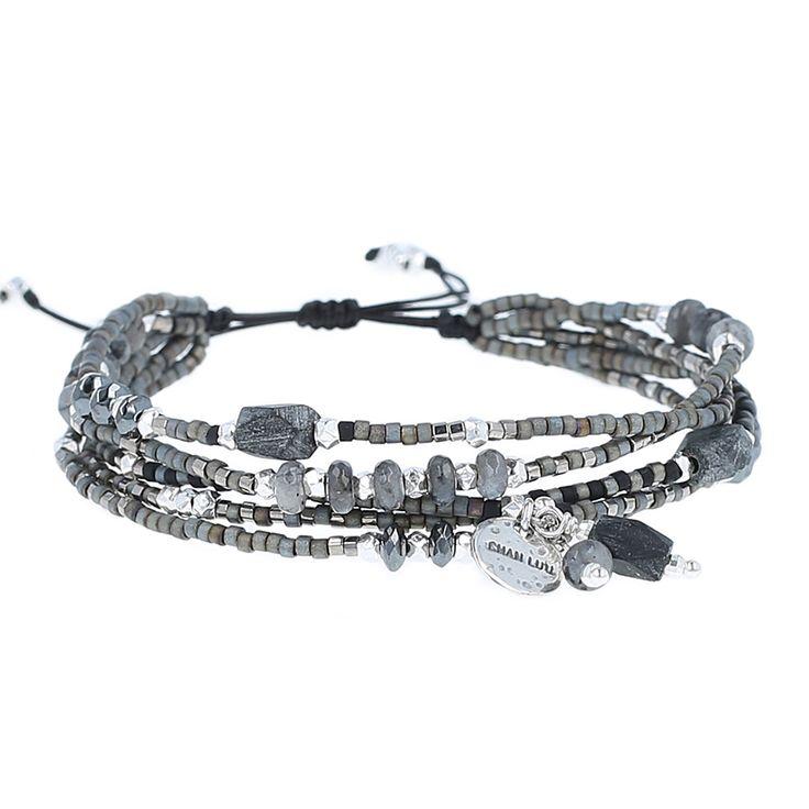 Black Jade Mix Adjustable Multi Strand Bracelet - Chan Luu