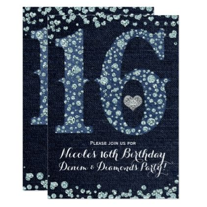 #Denim & Diamonds Sweet 16 16th Birthday Party Card - #birthday #gifts #giftideas #present #party