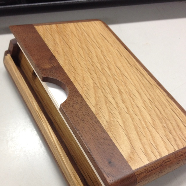 wood name card case