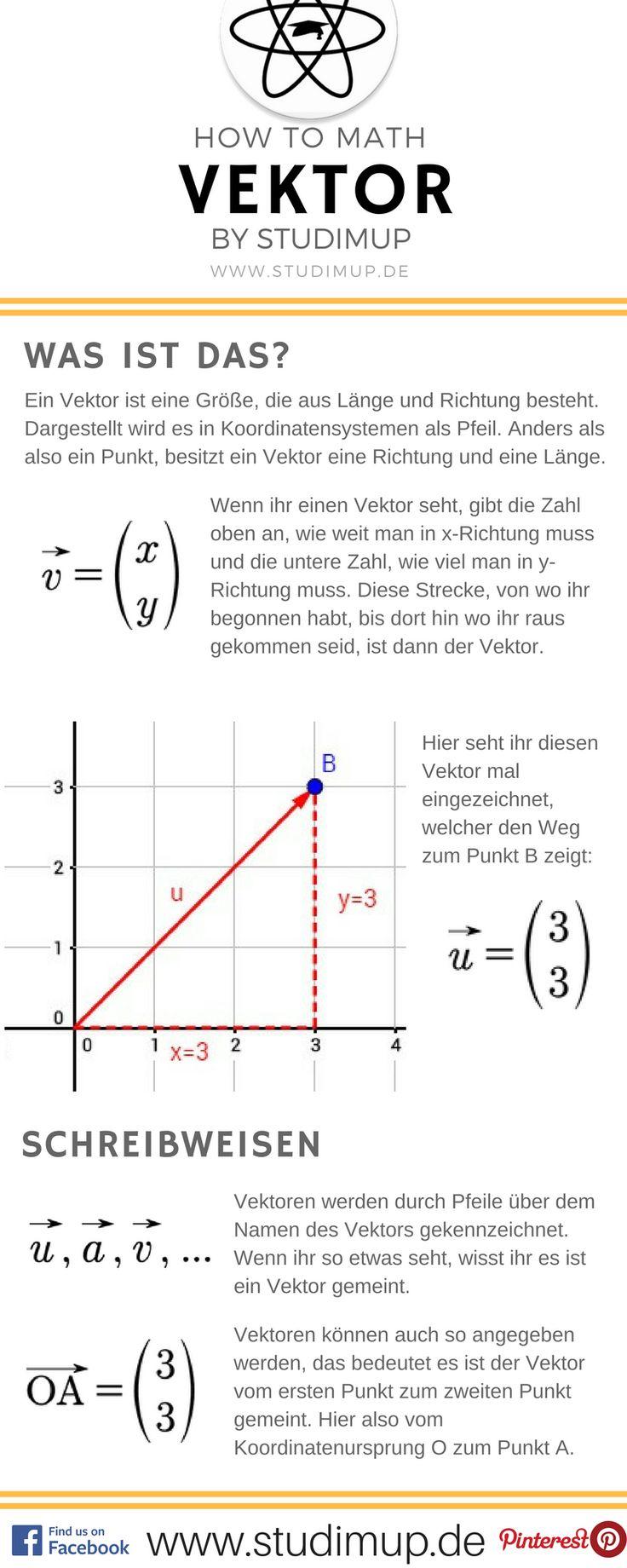 Der Vektor einfach in einem Spickzettel Erklärt. Studimup hilft euch kostenlos in Mathe!