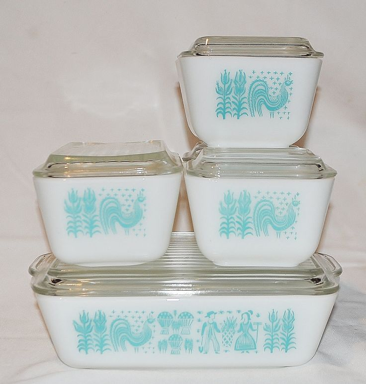 1950s Dishes: 1950's Pyrex Refrigerator Dishes Set Of 5