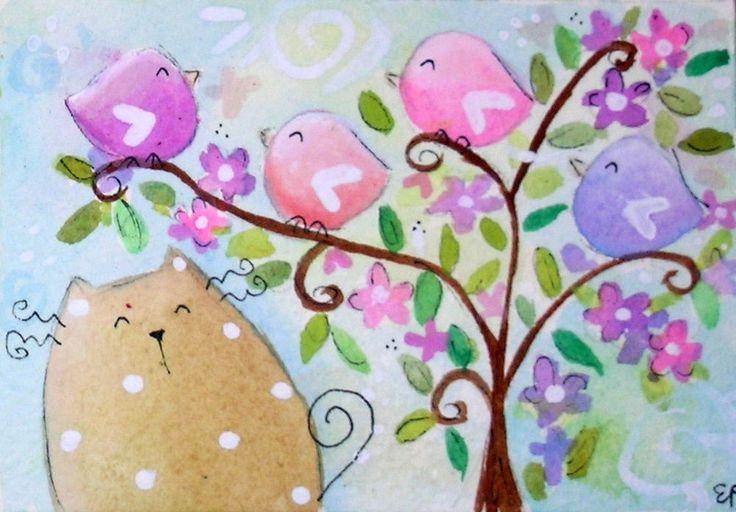 original watercolor ACEO- happy cat spring tree little birds pastel colors