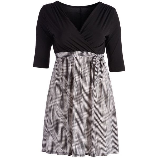 GLAM Black & White Windowpane Tie-Waist Surplice Dress ($30) ❤ liked on Polyvore featuring plus size women's fashion, plus size clothing, plus size dresses, plus size, white and black long dress, long dresses, white and black dress, black and white plus size dresses and black and white dress