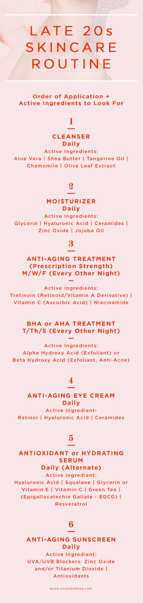 Late 20s skin care routine Order of application + active ingredients to look for skin care tips anti-aging @studiomeroe