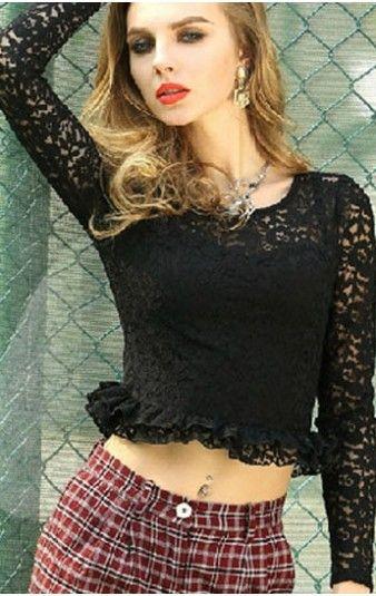 Pleasures Lace Top Black Rf825492