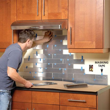 Top 10 DIY Kitchen Backsplash Ideas --I like this one the best --Stainless steel, aluminium and copper tiles are available in many styles... familyhandyman