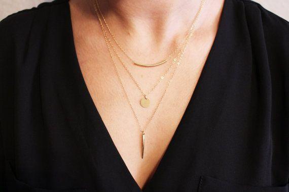 Zarte geschichteten Halsketten-set 3 / dünne von TatianaKatzoff