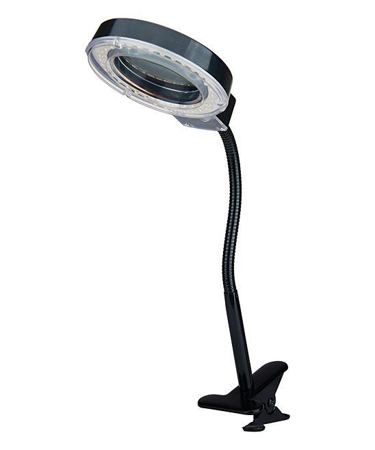 Black Clip-on Gooseneck Magnifier Desk Lamp