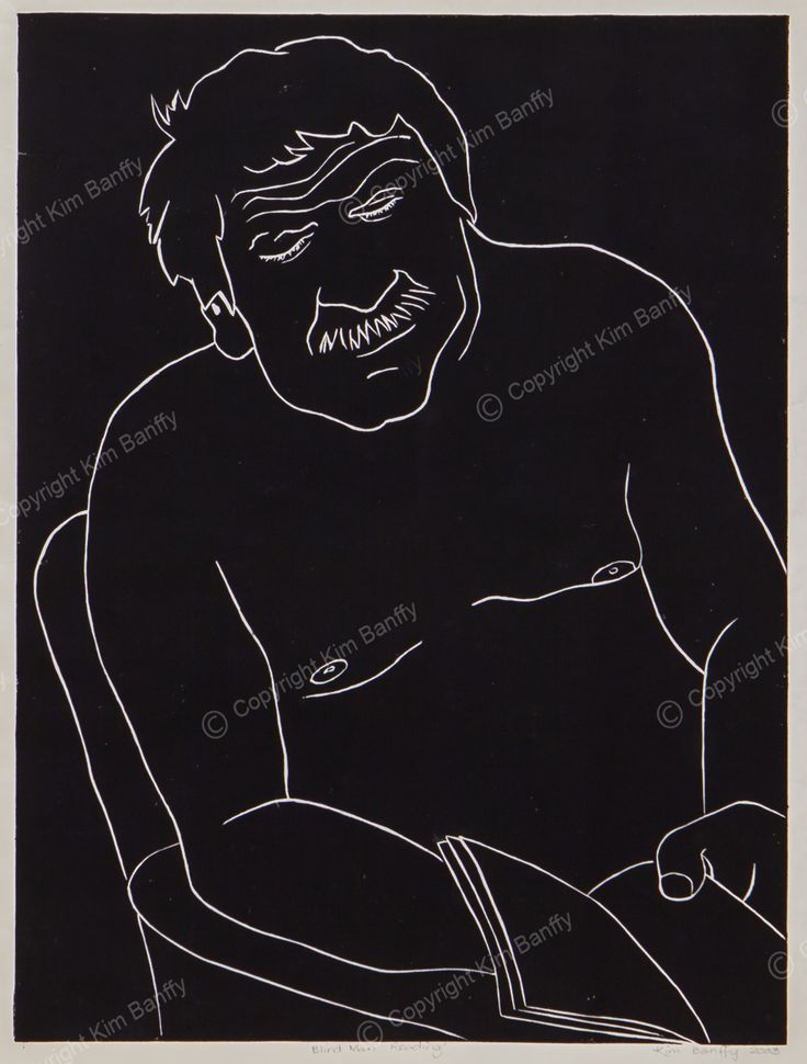 'Blind Man Reading' a linoprint for sale on mywebsite.