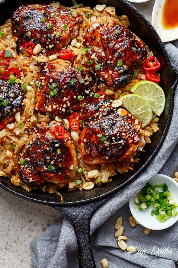 One Skillet Thai Chicken Thighs with Noodles