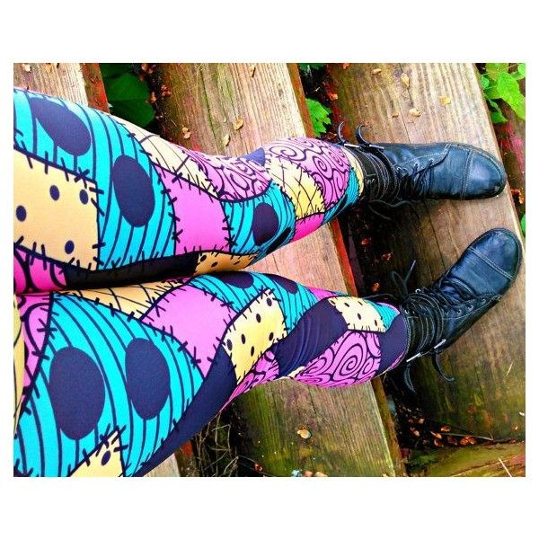 Nightmare Before Christmas Sally stitches Leggings pants ❤ liked on Polyvore featuring pants, leggings, spandex leggings, christmas leggings, spandex pants, patchwork pants and lycra leggings