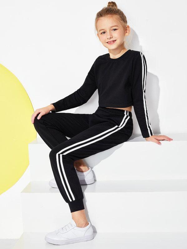 d5517c088dee7 Girls Striped Trim Top & Pants Set -SHEIN(SHEINSIDE) | Moda in 2019 ...