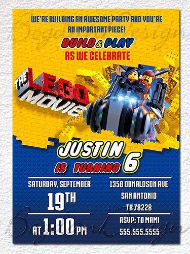 Lego Invitation, Lego party invite, Lego movie invite