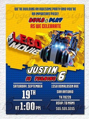 Lego Invitation, Lego party invite, Lego movie invite