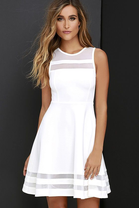 As Seen on The Today Show and Ashley of Ash n' Fashn blog! You can make it to every finish line with the Final Stretch Ivory Dress to push you through! Thick off-white fabric stretches easily from waist to swirling skirt, with stripes of sheer mesh at neckline and hem for that last burst of inspiration!