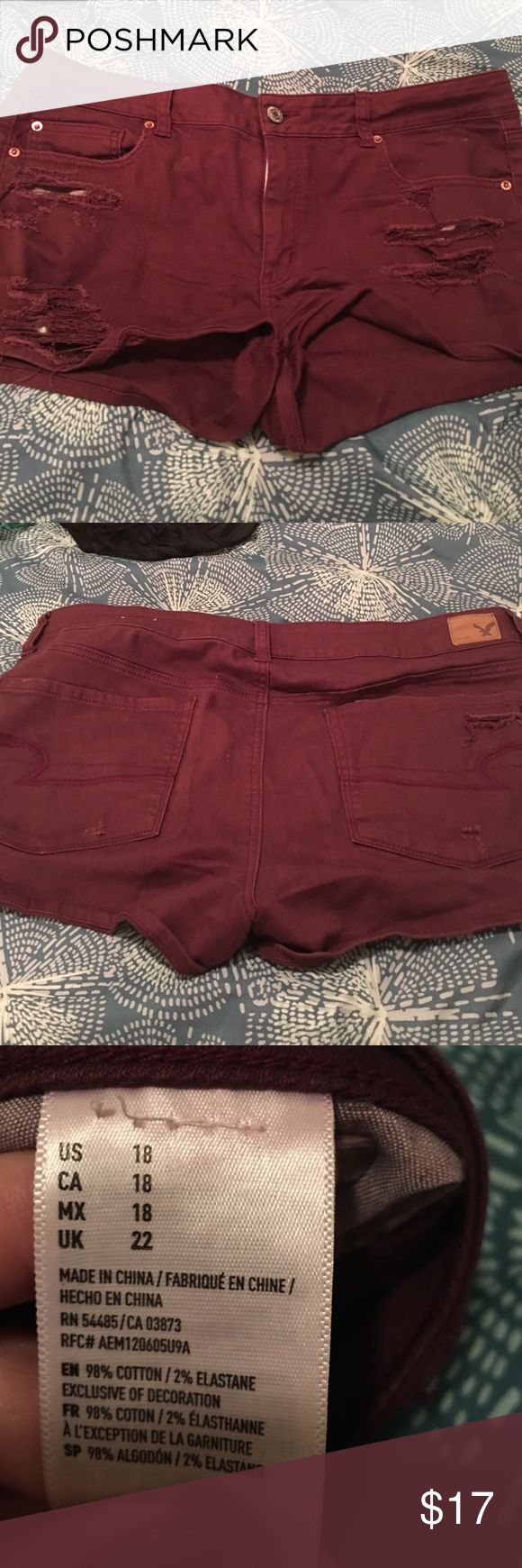 Burgundy American Eagle Shorts Super stretch, shortie, American Eagle Burgundy Shorts! American Eagle Outfitters Shorts Jean Shorts