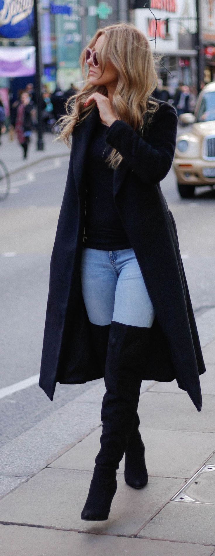 Long Black Coat + Black Thigh Boots