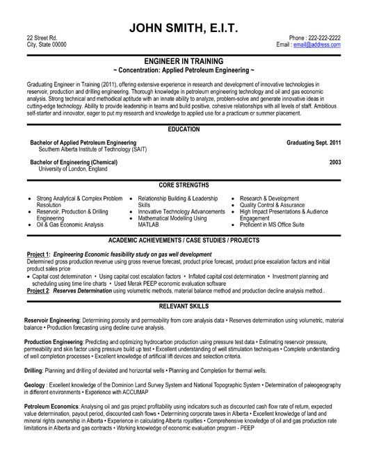 42 best Best Engineering Resume Templates \ Samples images on - example of a resume format