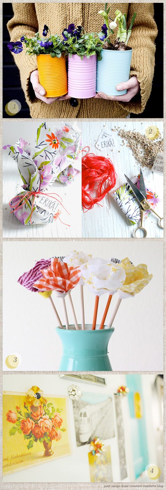 DIY GIfts: Tins Flowers, Crafty Gardens, Gifts Ideas, Gifts Diy Projects, Diy Gifts, Tins Planters, Tins Cans, Fabrics Flowers, Wraps Ideas