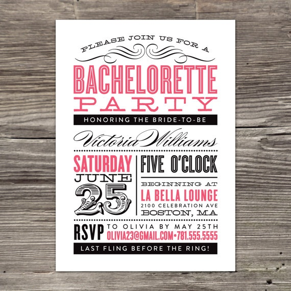 Old Fashioned Bachelorette Party Invitation by fineanddandypaperie, $25.00