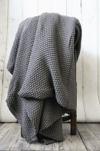 Beautifully Cosy Moss Stitch Cotton Throw - Grey Brown