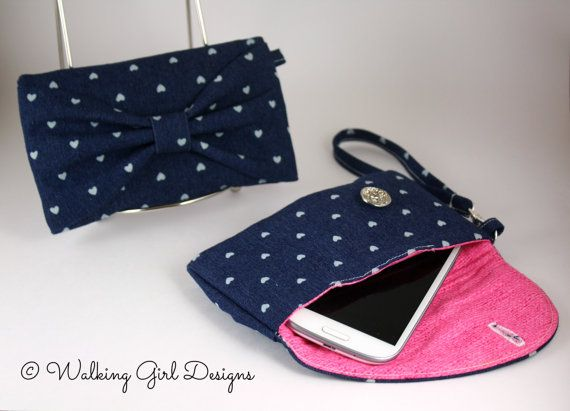 Denim Phone Case Clutch Wristlet Smart Phone by WalkingGirlDesigns