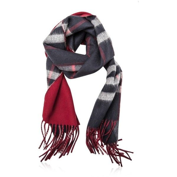 Burberry Giant Check Cashmere Scarf (1.645 BRL) ❤ liked on Polyvore featuring men's fashion, men's accessories, men's scarves, blue, mens cashmere scarves and burberry mens scarves