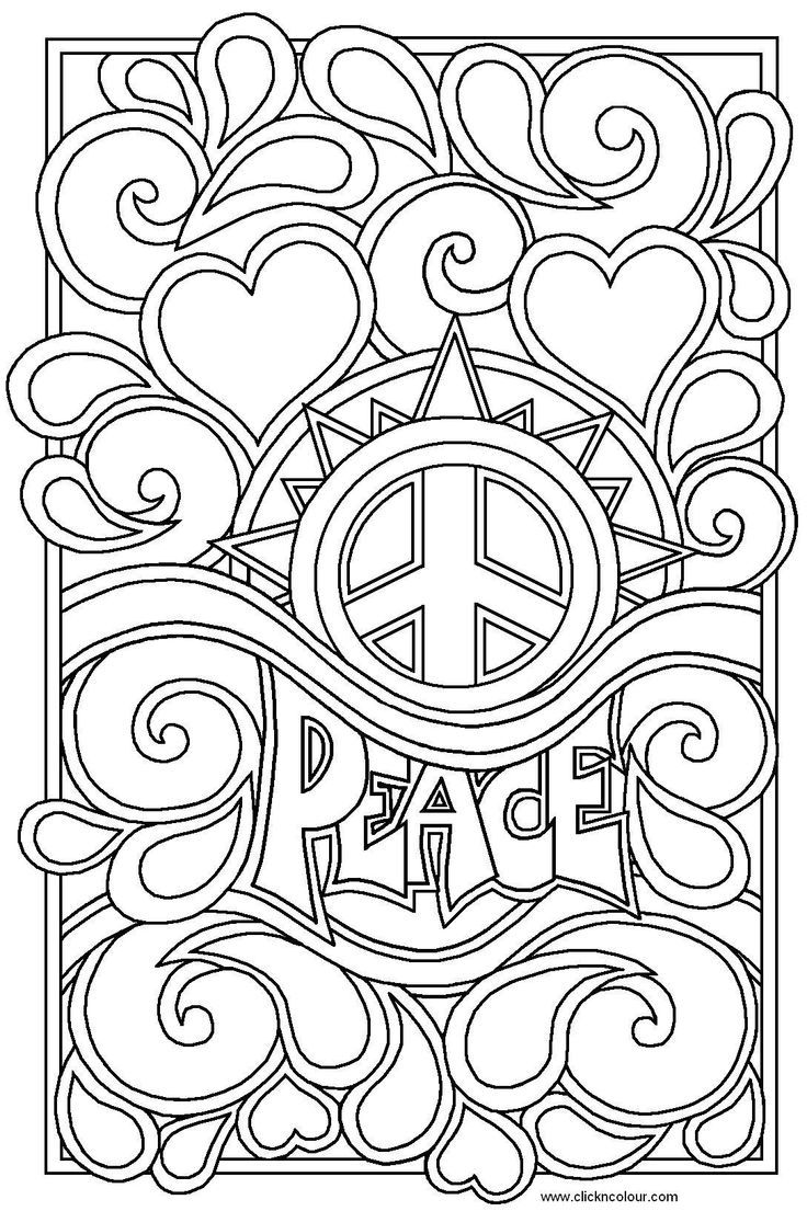Item hippie coloring design the word artwork color for Hippie coloring book pages