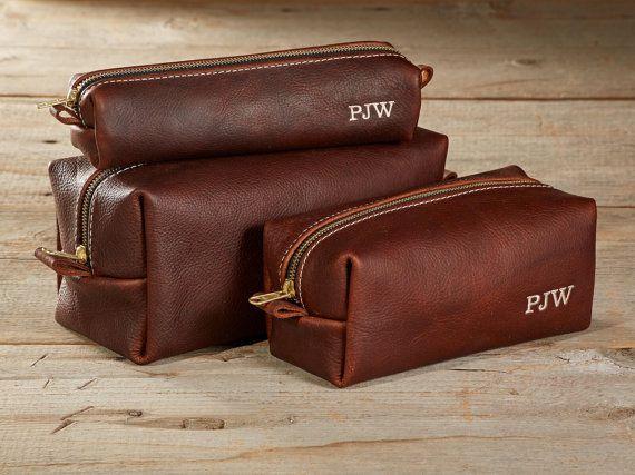 arizona leather toiletry bag travel shaving wash dopp kit with monogram gift for man groomsmen