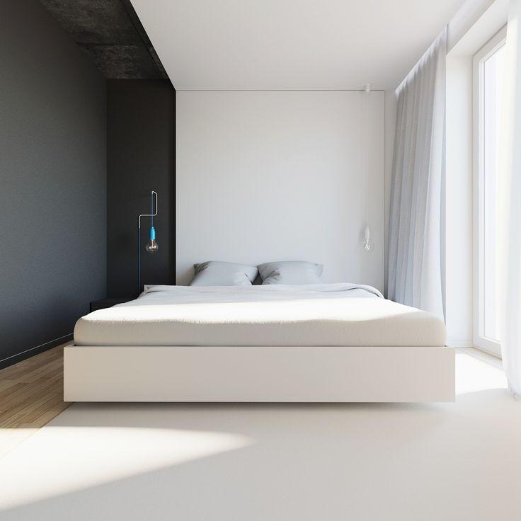 interior pj_lublin_poland on Behance а то, что фон чисто черно-белый в спальне не очень. Еще и этот потолок.