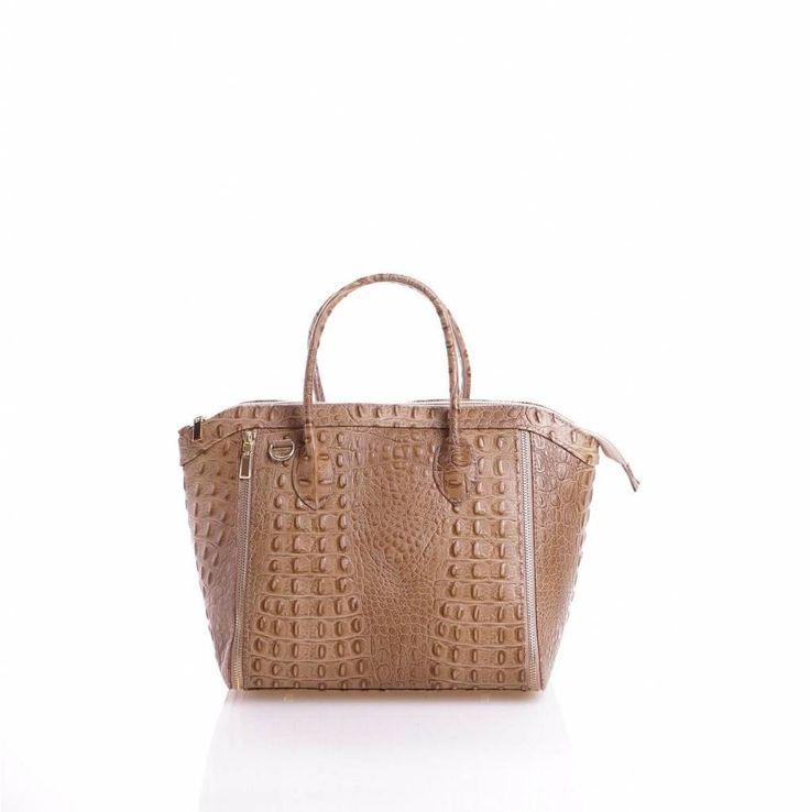- Leder handtas met kokosnoot print in Taupe kleur