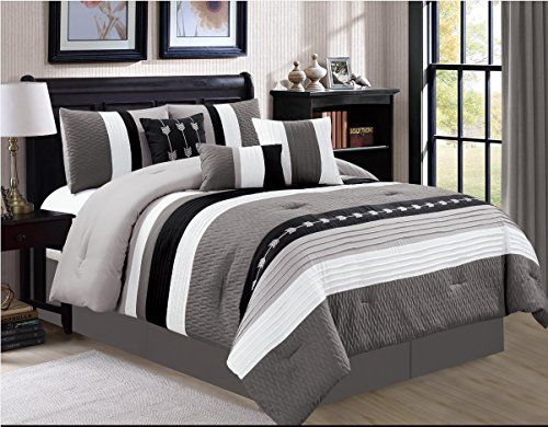 7 pcs Oversize Comforter Set Bedding Modern bed in bag Queen,King,Cal King