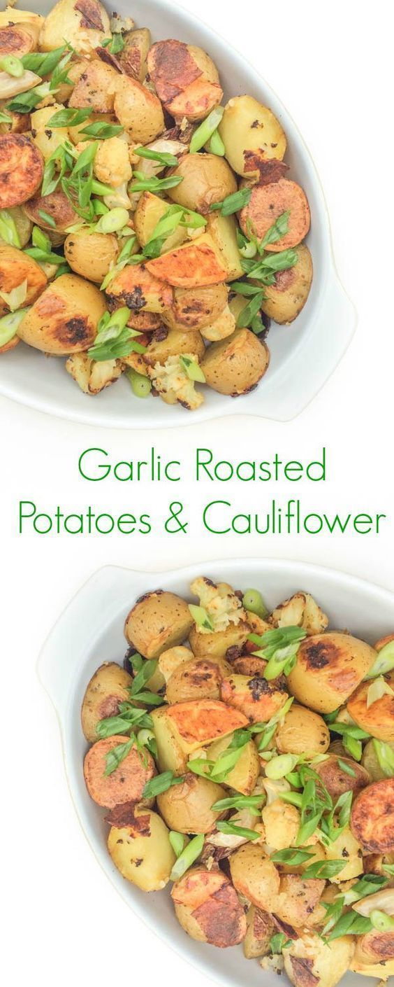 Garlic Roasted Potatoes And Cauliflower - This simple 5-ingredient side dish of roasted potatoes and cauliflower is packed with nutrients and full of roasted garlic flavor.
