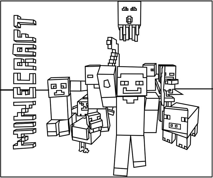 printable minecraft mobs coloring pages