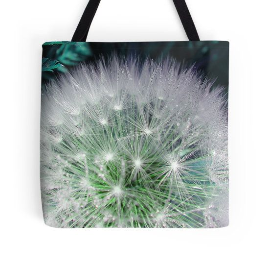 Cool white dandelion with waterdrops tote bag by fotosbykarin @ Redbubble #bags #totebags #dandelion #green #cool #waterdrops #fotosbykarin #Redbubble #KarinRavasio #kravasio