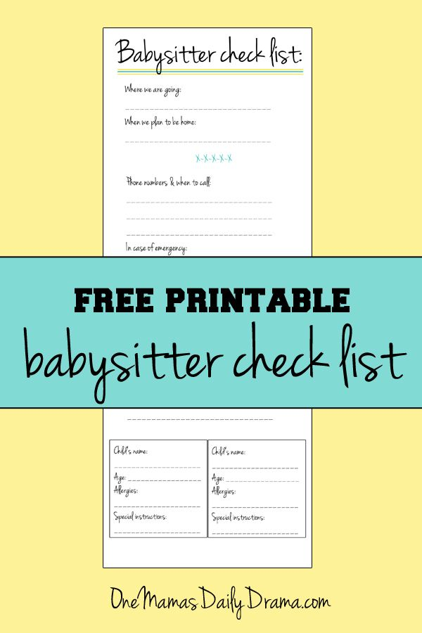 49 best babysitter images on Pinterest Free printable, Parents and