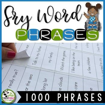 Fry Sight Word Phrases Lists 1-6 Ready to Print on Sticker