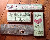 Items similar to Signs for coop, home, chicken yard chicken expressions painted on barn board on Etsy