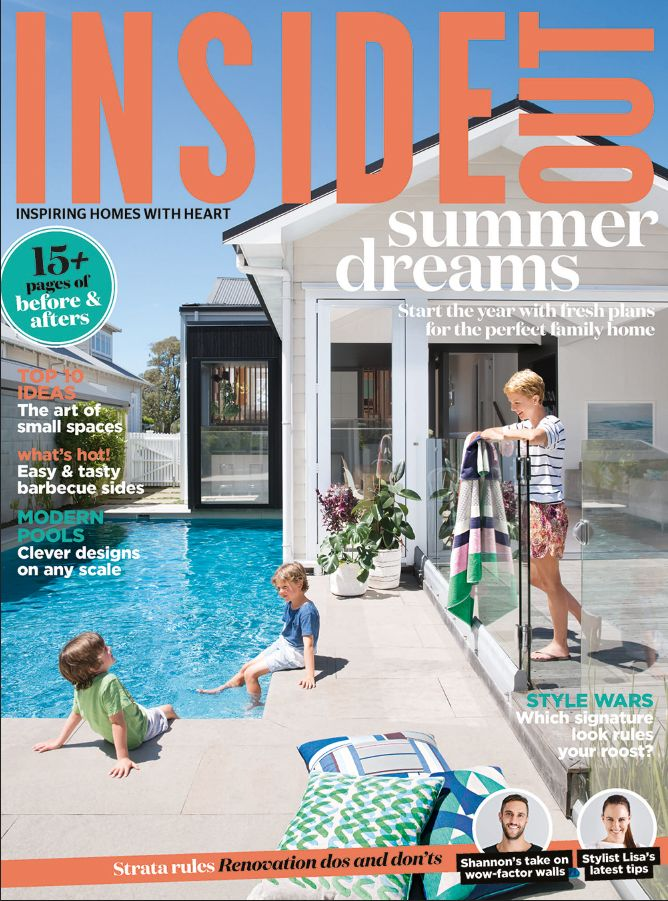 The cover of the January 2016 issue of Inside Out magazine. Styling by LeeAnn Yare. Photography by Larnie Nicolson. Available from newsagents, Zinio,www.zinio.com, Google Play, https://play.google.com/store/newsstand/details/Inside_Out?id=CAowu8qZAQ, Apple's Newsstand, https://itunes.apple.com/au/app/inside-out/id604734331?mt=8&ign-mpt=uo%3D4, and Nook.