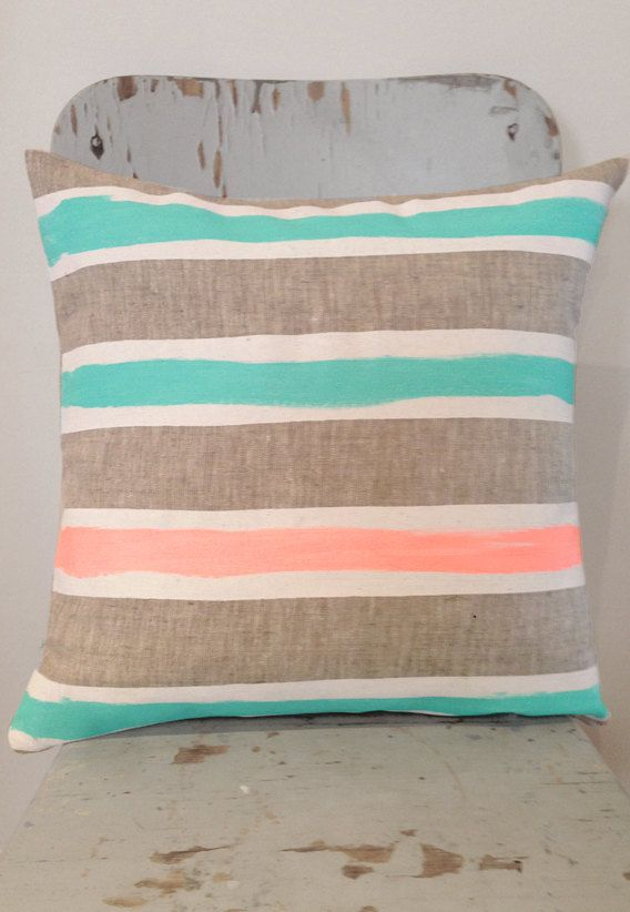 Meg White And Mint Art Cushion