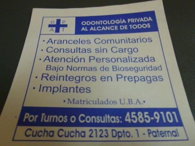 CONSULTORIO ODONTOLOGICO,ODONTOLOGO,DENTISTA PATERNAL La Paternal - anuncialo .Seriedad en los tratamientos odontologicos atendido por sus propios dueños con 25 años de trayectoria.