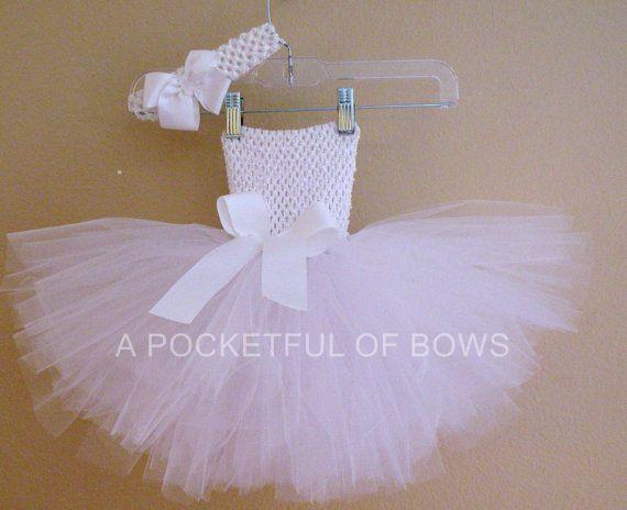 White or Ivory Tutu Dress Birthday Tutu Dress by APocketfulofBows, $28.99