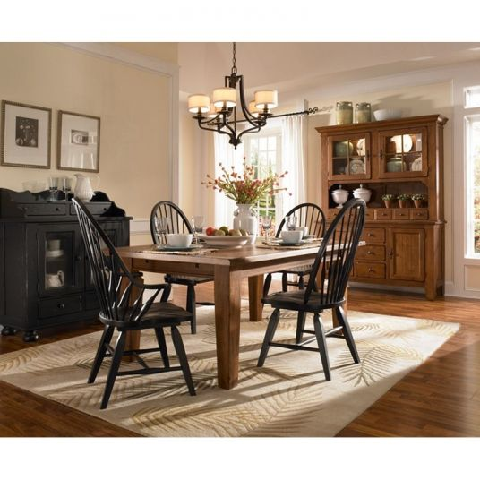 Rectangular Leg Dining Table Natural Oak Stain Attic Heirlooms Broyhill Outlet Discount Furniture Selections At High Point