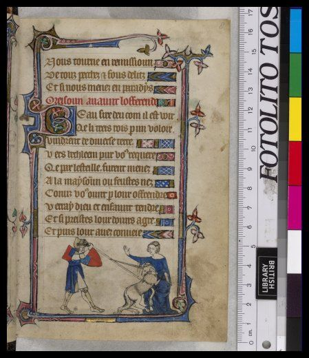 Woman and unicorn - Book of Hours, Use of Sarum ('The Taymouth Hours'), 2nd quarter of the 14th century