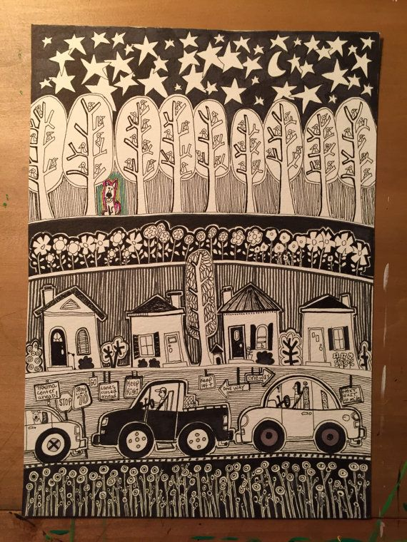 Hand drawn, original pen and ink drawing, Little Dog's World, trees, birds, cars, houses, flowers, abstract art, black and white, little dog