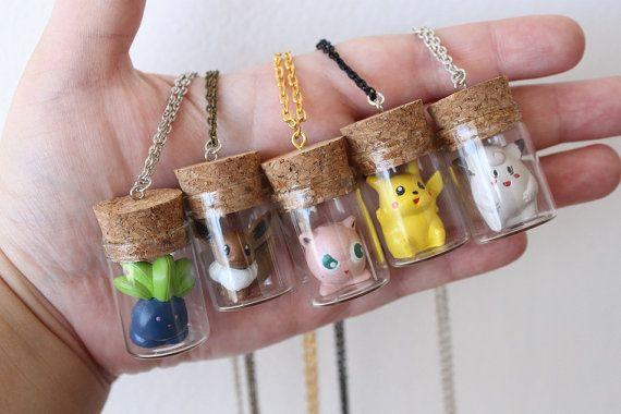 Pokémon Necklace  Oddish Eevee Jigglypuff Pikachu by GlitzCouture, $15.55