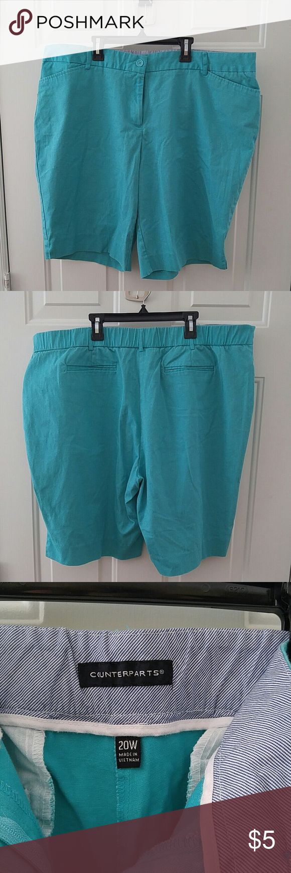 Counterparts Knee Length Aqua Shorts Knee Length shorts. Button and zip closure. 2 pockets in front and 2 in back. Size 20W Counterparts Shorts Bermudas